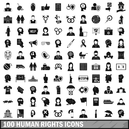 100 human rights icons set, simple style Illustration