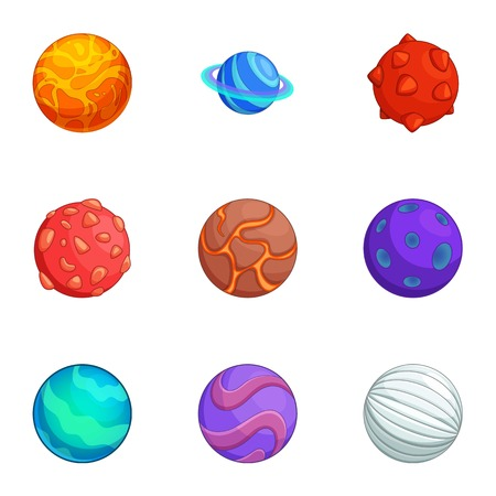 Fantasy colorful planets icons set, cartoon style