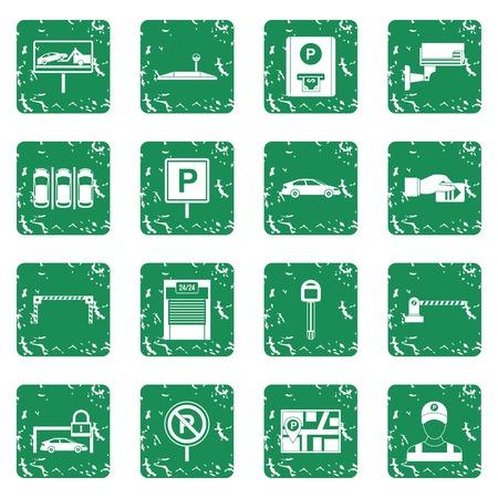Parcheggio auto set di icone grunge Archivio Fotografico - 82592567