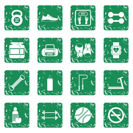 sports application: Gym Icons set grunge Illustration