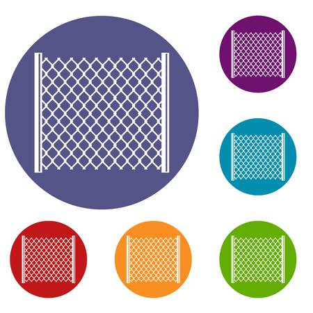 Perforated gate icons set Illustration