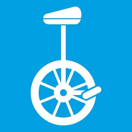 one wheel bike: Unicycle icon white Illustration
