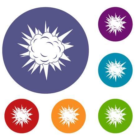 atomic bomb: Terrible explosion icons set
