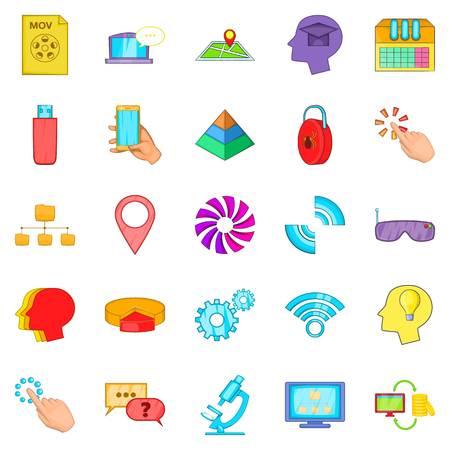 inet symbol: Mobile internet icons set. Cartoon set of 25 mobile internet vector icons for web isolated on white background