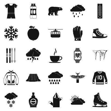 winter grilling: Outdoor icons set, simple style