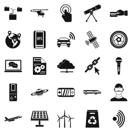 Wireless technology icons set, simple style Illustration