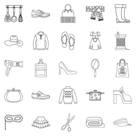 mujer en el supermercado: Walking to clothes icons set, outline style Vectores