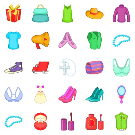 Clothing icons set, cartoon style