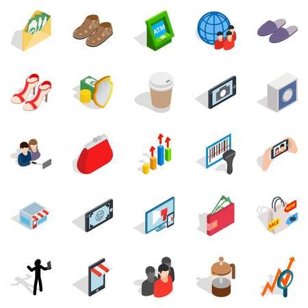 Shopping icons set, isometric style