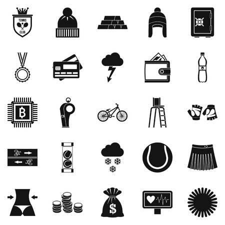 medical illustration: Sports on the beach icons set, simple style