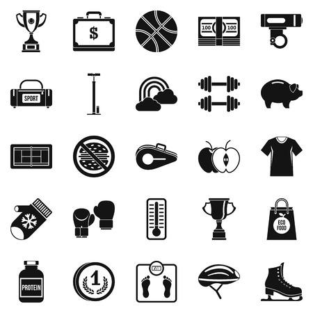 thrown: Women health icons set, simple style