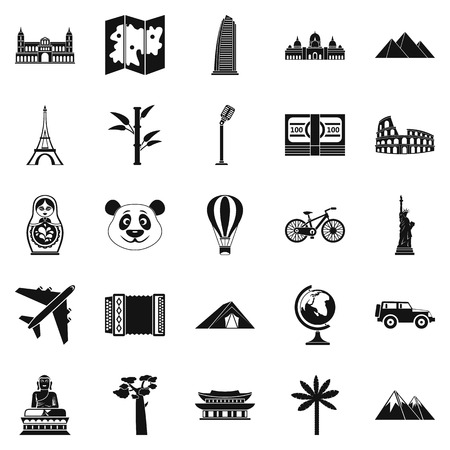 black family: Trip icons set, simple style Illustration
