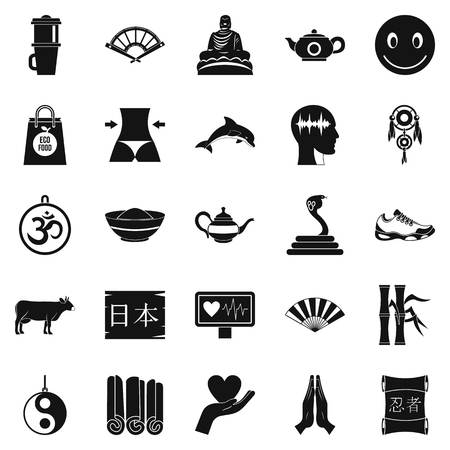 Buddhism icons set, simple style