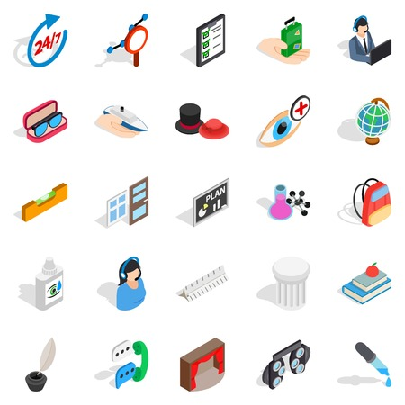 top seven: Office work icons set, isometric style