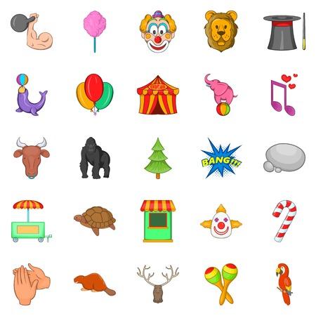 Zoo circus icons set, cartoon style