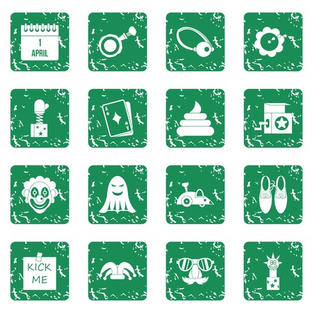 April fools day icons set in grunge style green isolated vector illustration