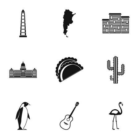 argentine icônes voyage définies . ensemble de 9 icônes vectorielles voyage gps pour web isolé sur fond blanc