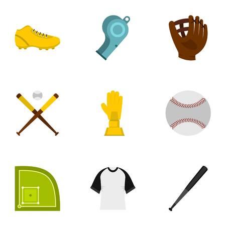 Baseball icons set. Flat set of 9 baseball vector icons for web isolated on white background Illustration