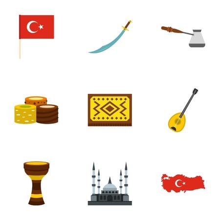saz: Turkey travel icons set, flat style