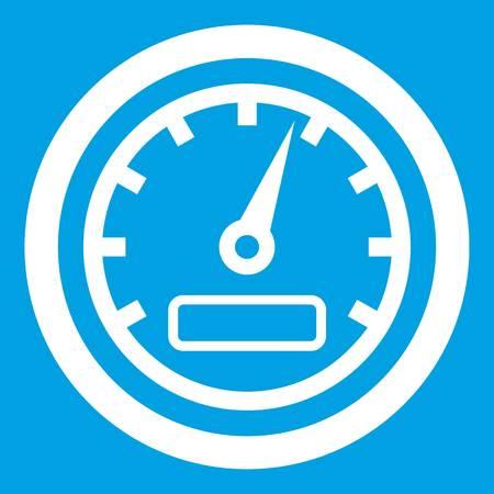 dashboard: Speedometer icon white isolated on blue background vector illustration Illustration