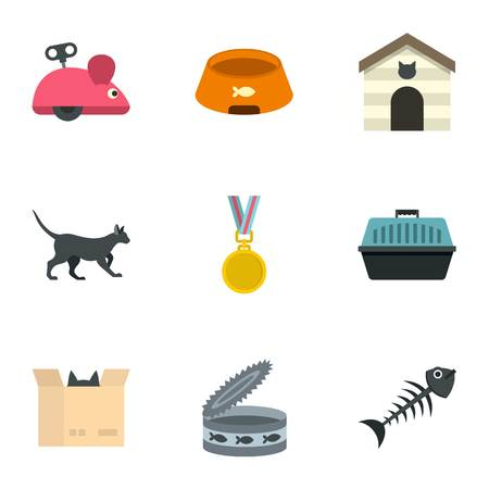 grappling: Cat toys icons set. Cartoon set of 9 cat toys vector icons for web isolated on white background Illustration