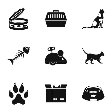 grappling: Cat toys icons set. Simple set of 9 cat toys vector icons for web isolated on white background