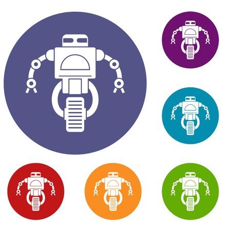 funny robot: Machine robot icons set