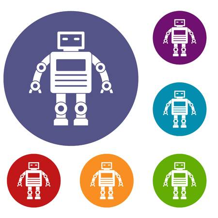 bionic: Robot icons set in flat circle red, blue and green color for web Illustration