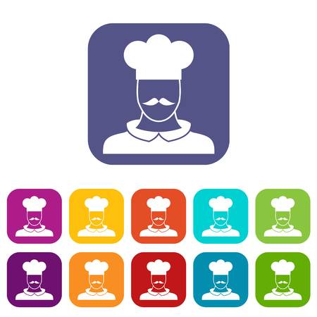 prepare: Male chef cook icons set vector illustration in flat style in colors red, blue, green, and other