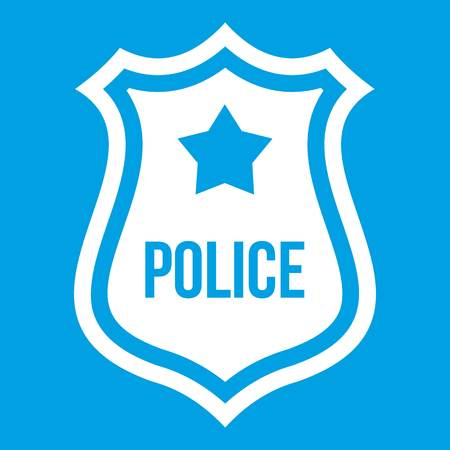 Police badge icon white isolated on blue background vector illustration