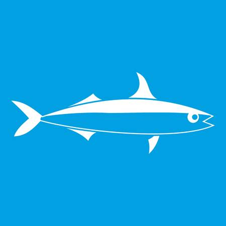 Fish icon white isolated on blue background vector illustration