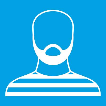 Bearded man in prison garb icon white isolated on blue background vector illustration Ilustração