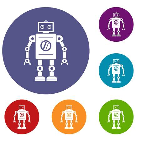 machinery: Retro robot icons set in flat circle red, blue and green color for web