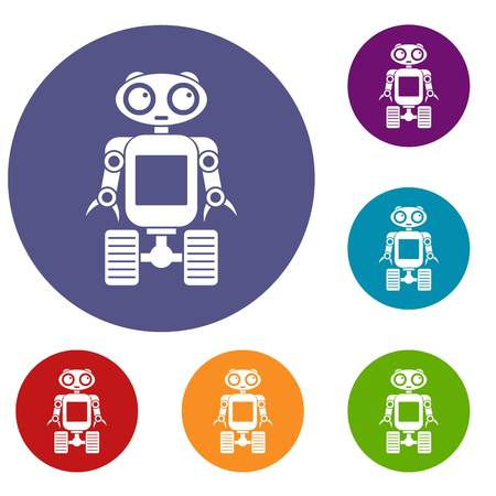 funny robot: Robot on wheels icons set in flat circle red, blue and green color for web
