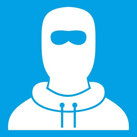 Man in balaclava icon white isolated on blue background vector illustration