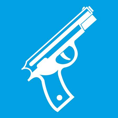 Gun icon white isolated on blue background vector illustration Illustration