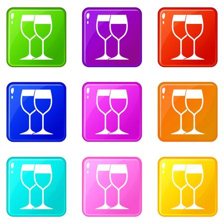 Wine glasses icons of 9 color set isolated vector illustration