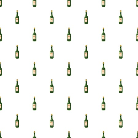 Bottle of wine pattern seamless repeat in cartoon style vector illustration