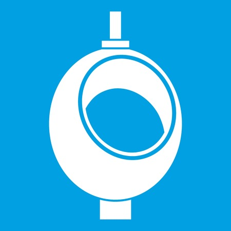 Urinal or chamber pot for men icon white isolated on blue background vector illustration