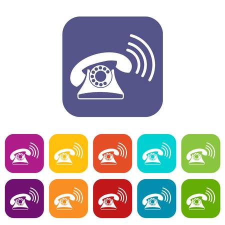 appliances: Retro phone icons set vector illustration in flat style in colors red, blue, green, and other