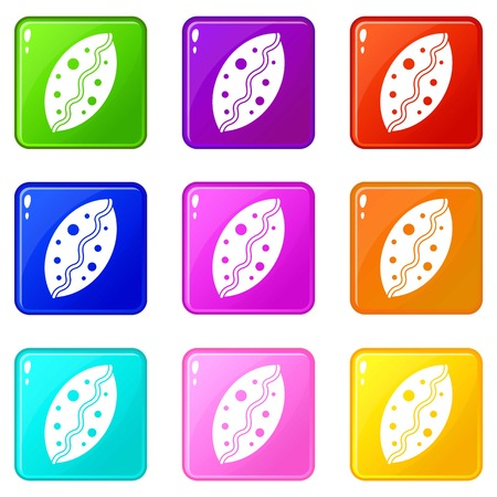 Baked pastry icons of 9 color set isolated vector illustration