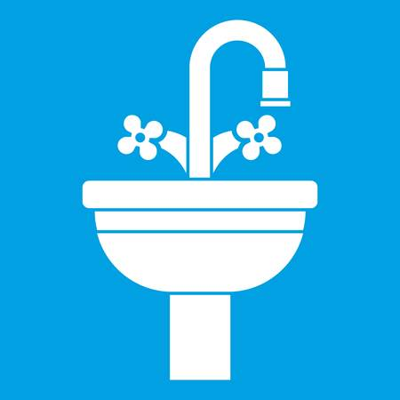 Ceramic sink icon white isolated on blue background vector illustration