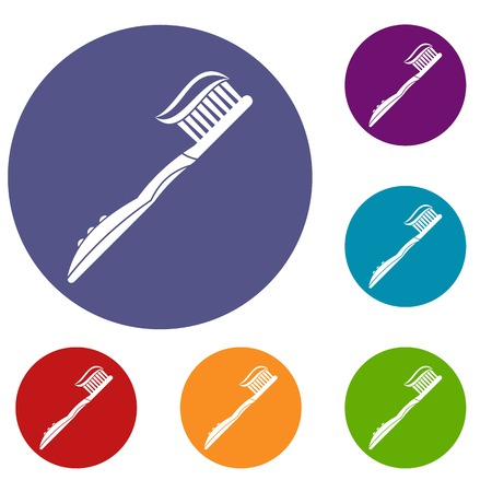 Toothbrush with toothpaste icons set in flat circle red, blue and green color for web Illustration