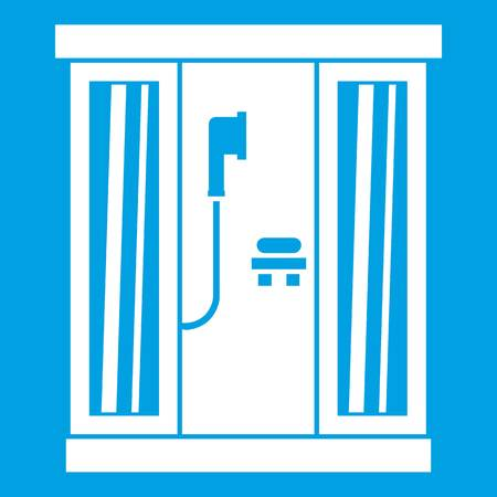 Shower cabin icon white isolated on blue background vector illustration Stock Vector - 82634397