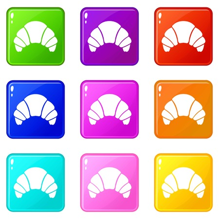 Croissant icons of 9 color set isolated vector illustration