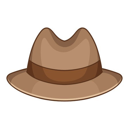 Hat icon. Cartoon illustration of trilby vector icon for web design