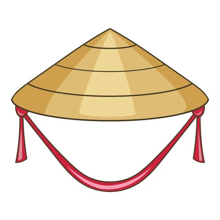 Asian conical hat icon. Cartoon illustration of asian conical hat vector icon for web design