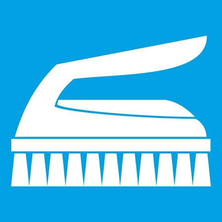 Brush for cleaning icon white isolated on blue background vector illustration Illustration