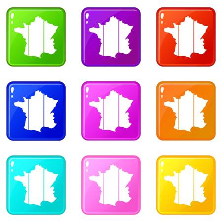 corsica: France icons of 9 color set isolated vector illustration Illustration