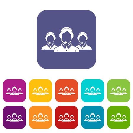Los iconos de operadores de soporte al cliente establecen ilustración vectorial en estilo plano en colores rojo, azul, verde y otros